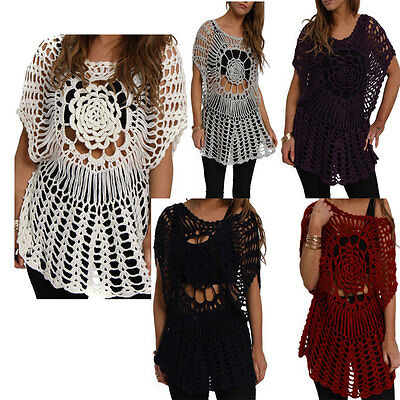 New Womens Batwing One Size Crochet Floral Summer Holiday Cover Up  Vest Top