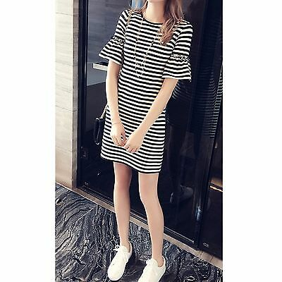 Girls Black and White Stripe Dress with Ruffle Sleeves Age 11 - 15