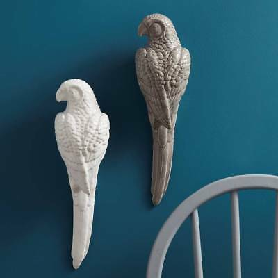 Deco Grey Ceramic Parrot Wall Art Ornament by Gisela Graham sold individually