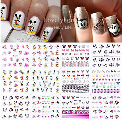 12 Sheets Nail Art 3D Stickers Cartoon Design Manicure Tips Decal Decorations