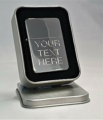Engraved SILVER Personalised Star Petrol Lighter Birthday Valentine Present Gift