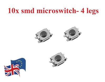 10 Pcs SMD key fob Micro Switch for  Peugeot Vauxhall with 4 legs