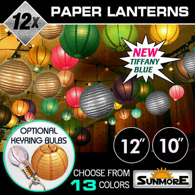 12x LED Chinese Paper Lanterns Sky Light Lamp Wedding Party Decor Decoration