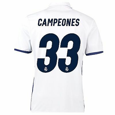 Adult S Real Madrid Home Shirt 2016-17 Campeones 33 RM3
