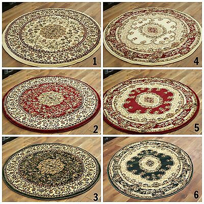 Elegant Beige, Green, Red Circle Rug Traditional Classic Round Rugs On Discount
