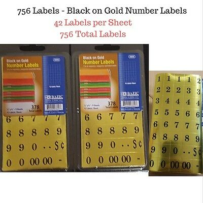 756 Sticky Numbers Stickers, Adhesive Labels, Black on Gold Rectangles - Office
