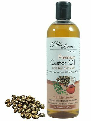 HillDews Castor Oil 200ml - Cold Pressed For Skin and Hair Free Shipping