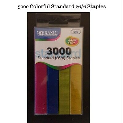 3000 PCs - 26/6 - Standard Heavy Duty Colourful Staples - School and Office need
