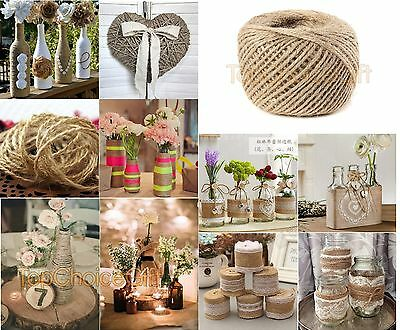 1m - 1000m Natural Brown Jute Thread Rustic Twin String Hemp Rope Cord Garden