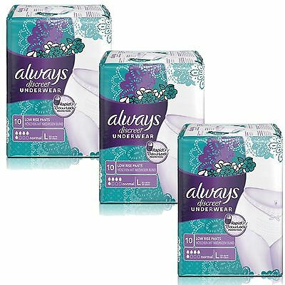Always Discreet Sensitive Bladder Incontinence Pants Underwear Large - 30 Pack