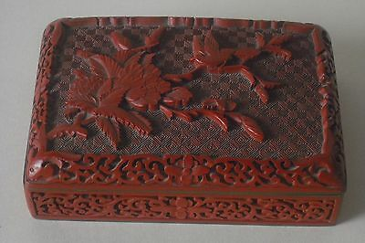 Vintage Chinese Cinnabar Red Lacquer Brass Blue Enamel Heavy Box Bird in Tree