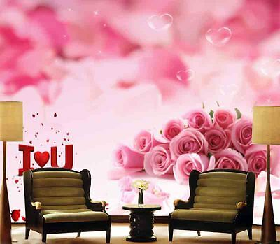 Delicate Pink Rose 3D Full Wall Mural Photo Wallpaper Printing Home Kids Decor