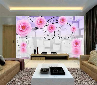 Flamboyant Pink Rose 3D Full Wall Mural Photo Wallpaper Printing Home Kids Decor