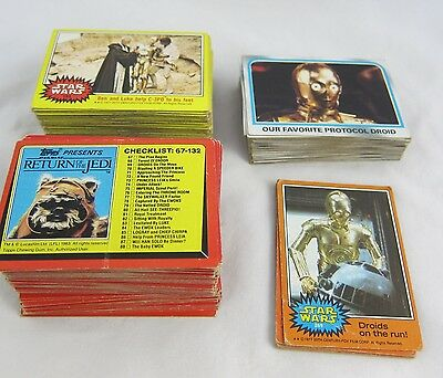 Star Wars Trading Cards Original Series Lot of 230 Topps 1970s & 80s