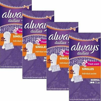 Always Dailies Panty Liners Normal Fresh Scent Individually Wrapped - 80 Pack