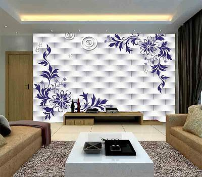 Purple Embroidered 3D Full Wall Mural Photo Wallpaper Printing Home Kids Decor