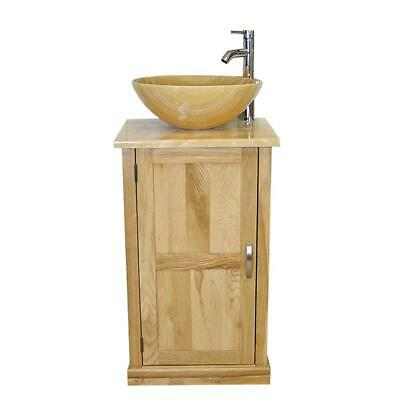 Cloakroom Bathroom Vanity Unit Oak Golden Onyx Wash Stand and Basin Set 309