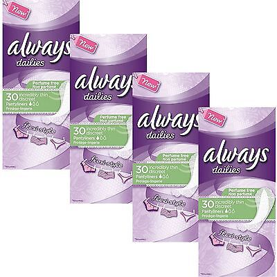 Always Dailies Womens Panty Liners Incredibly Thin Discreet Flexi Style 120 Pack