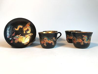 Antique Vintage CLOISONNE DRAGON BLACK GOLD CHINESE Small Cup & Saucer Set