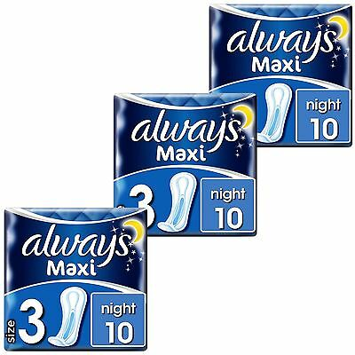 Always Maxi Night Sanitary Towels Pads No Wings Odour Protection Soft Pack of 30