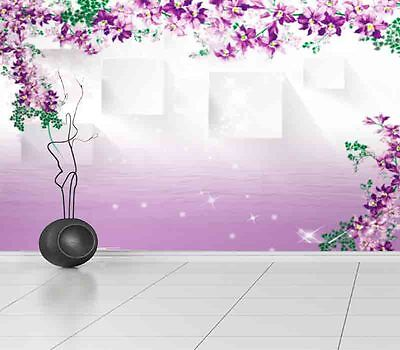 Fluent Purple Cirrus 3D Full Wall Mural Photo Wallpaper Printing Home Kids Decor