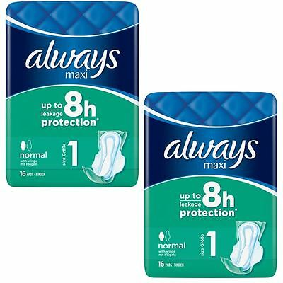 Always Maxi Sanitary Towels Normal Pads With Wings Odour Protection - Pack of 32