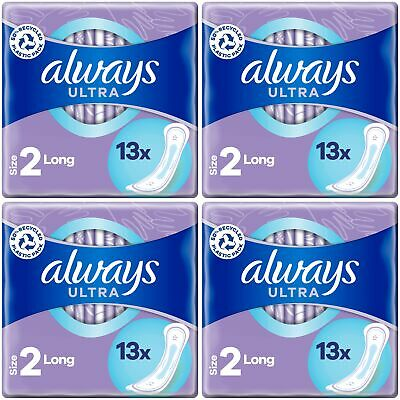 Always Ultra Long Sanitary Towels Pads Size 2 Womens Super Absorbent Pack of 56