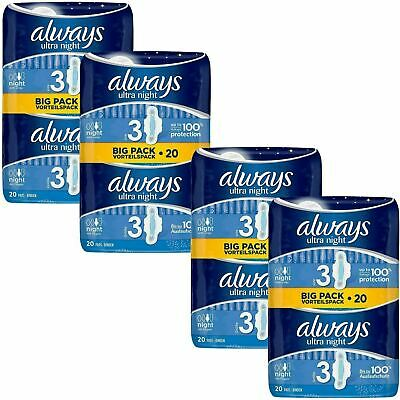 Always Ultra Night Sanitary Towels Pads Size 3 Wings Womens Absorbent Pack of 80