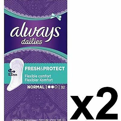 Always Dailies Panty Liners Normal Fresh & Protect Odour Neutralising - 64 Pack