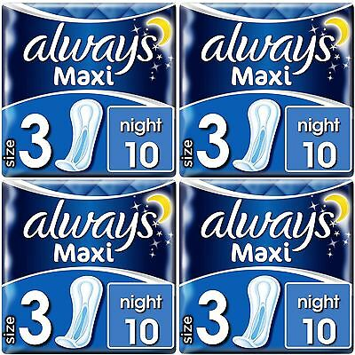 Always Maxi Night Sanitary Towels Pads No Wings Odour Protection Soft Pack of 40