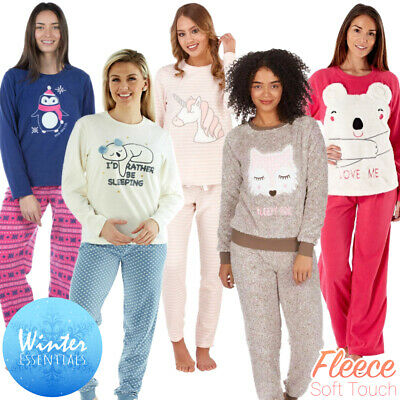 Ladies Girls Fleece Thermal Pyjamas Pyjama Bottoms Set Winter Warm New Owl Dog