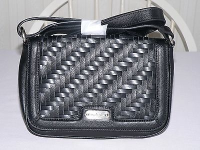 Longaberger Stairstep Weave Crossbody Leather Purse Black -  New Reg. $178