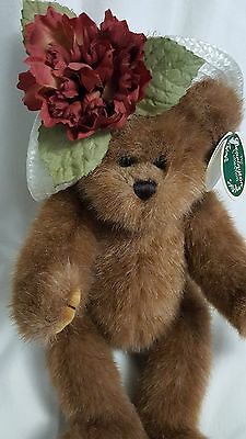 """The Bearington Collection Tenille Teddy Bear White Hat Blue Bow Brown 12"""""""