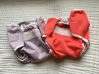 Thirsties Duo Wrap Cloth Diaper Cover Size Medium Lot of 2 Coral Purple