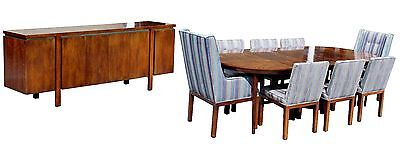 Mid Century Modern Widdicomb Dining Set Oval Table 3 Leafs 8 Chairs Credenza