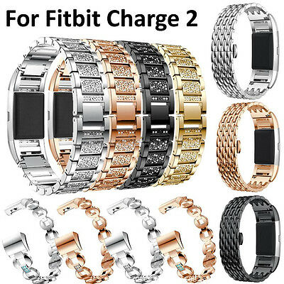 Stainless Steel Bracelet Strap Replacement Watch Band For Fitbit Charge 2 Band