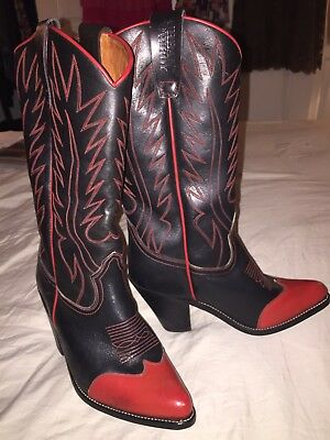 URBAN COWBOY Vintage Western Boots Black and Red Leather EUC sz 7.5 RARE