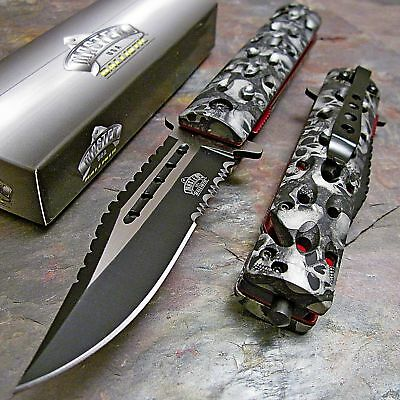 MASTER Spring Assisted Open SAWBACK BOWIE Grey Skull Camo Rescue Pocket Knife