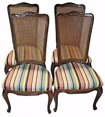 Set of Four Pressed Cane Back Dining Chairs -  French Provincial & Walnut Finish