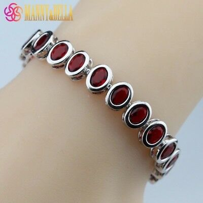 "925 Sterling Silver Oval Shaped Red Garnet Tennis Bracelet 7-8"" Adjustable"