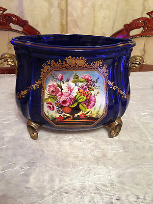 victorian blue cobalt pot