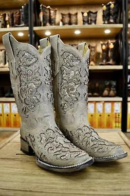 c6a0aaf1a CORRAL LADIES WHITE Glitter Inlay & Crystal Square Toe Boots A3397 ...