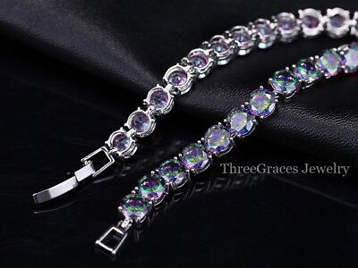 Silver Mystic Rainbow Round Topaz 11ct Tennis Bracelet adjustable 7-8 Inch