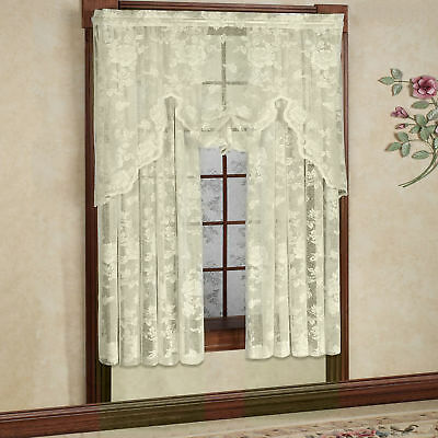 """Abbey Rose Floral Pattern High Gauge Lace Curtain Single Panel 50""""W x 63""""L Ivory"""