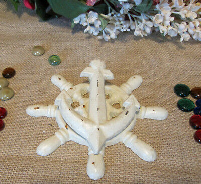 Cast Iron CAPTAIN'S SHIP WHEEL and ANCHOR DOOR KNOCKER Ivory Bisque Anchors Away