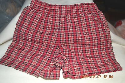 Infant Boy Shorts Size 3-6 Months Cotton And Polyester Plaid Print Elastic Waist