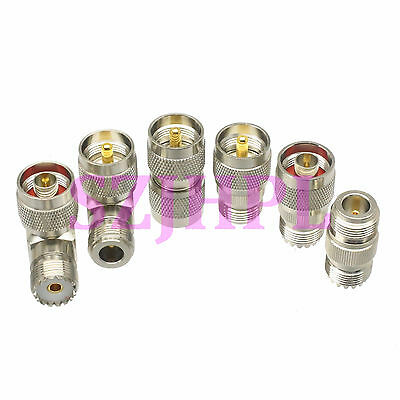 6pcs/set PL259 SO239 UHF & N male plug female jack kit 90° RF adapter connector