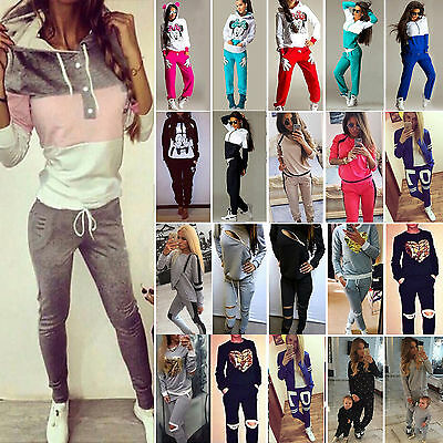 2Pcs Women Tracksuit Hoodies Sweatshirt Pants Sets Sport Wear Casual Sweat Suit