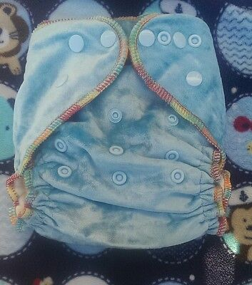 1 New Sky Blue Bamboo Velour Cloth Diaper Nappy Adjustable 8-33lbs, Free Insert!