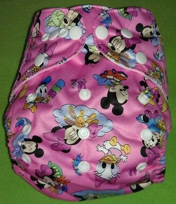One New Baby Girl Minnie and Mickey Pocket Cloth Diaper Nappy Adjustable Disney